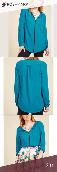 New Modcloth Long Sleeve Top Women Sz M, L, XL Brand new in original package ‼️price firm‼️ Made by Modcloth  Authentic from Modcloth.  Women size M Ship within one day! Detail: 100% Polyester. Machine wash. True to size Tab at sleeve to adjust length. Imported Modcloth Tops Blouses
