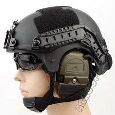 Airsoft IBH Helmet With NVG Mount OPS Rail(Black)