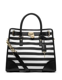 MICHAEL MICHAEL KORS Hamilton Striped Canvas Tote Bag