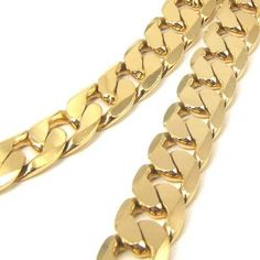"""24""""12MM100G RARE Men Chain 18K Yellow Gold GP Solid Necklace GEP 