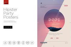 10 Hipster Party Posters & Covers by Mesmeriseme on Creative Market
