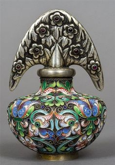 A Russian silver and champleve enamelled scent bottle with 88 Zolotnik mark for…