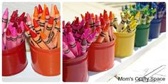DIY:  Recycled fruit tins used as crayon holders.  Easy tutorial & very creative!