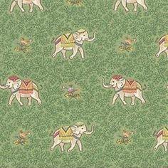 Ellie Palm Green Elephant Cotton Drapery Fabric - 58101 | BuyFabrics.com