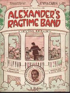 "Irving  Berlin ""Alexander's Ragtime Band"" 1939 sheet music Old Sheet Music, Vintage Sheet Music, Music Covers, Album Covers, Music Lyrics, My Music, Alice Faye, American Songs, Irving Berlin"