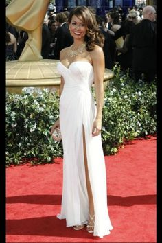 Chiffon Sweetheart Long White Brooke Burke Red Carpet Dress With Slit