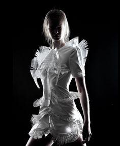Wearable Art - sculptural dress design with 3D surface detail inspired by micro-organisms; conceptual fashion design  // Iris van Herpen Haute Couture
