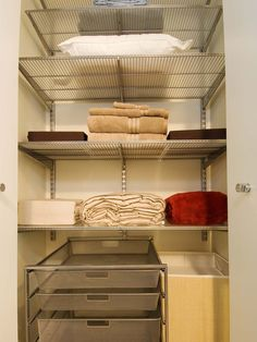Use adjustable shelves. Being able to lower or raise shelves easily will help your linen closet work harder. That way when something changes (say you take off your big duvet at the end of winter), you can quickly make space for it in the closet.