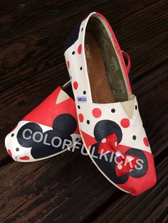 964f422e158 Disney Mickey and Minnie Canvas Slip-on Shoes. Etsy. Cheap Toms ...