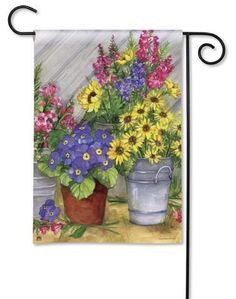 BreezeArt Garden Flag Blossom Buckets Spring flowers 31752 - Chicky Dee's Gifts