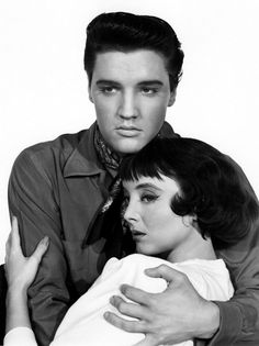Elvis Presley and Carolyn Jones publicity for 'King Creole', 1958.