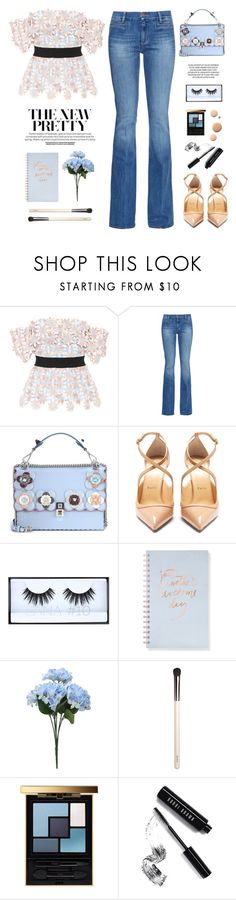 """Pretty"" by yexyka ❤ liked on Polyvore featuring self-portrait, M.i.h Jeans, Fendi, Christian Louboutin, Huda Beauty, Fringe, Chantecaille, Yves Saint Laurent, Bobbi Brown Cosmetics and CC"