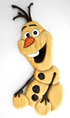 "Great Christmas decoration! Frozen Olaf segmented wooden intarsia Ready to hang 23""x12"" $35.00"