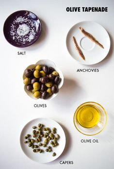 The original French olive tapenade recipe with olives, capers, anchovies and olive oil + 5 ways to eat it. A delicious and easy low FODMAP dip. Olives, Tapas, Olive Recipes, Cooking Recipes, Healthy Recipes, Whole30 Recipes, Salad Recipes, Fodmap Recipes, Low Fodmap