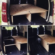 Completed a new style single to double bed convertible folding system today for a local client's Hyundai iLoad van. Pretty happy with it! Rock solid and plenty of storage space. Camper Beds, Car Camper, Mini Camper, Camper Trailers, Vw Camping, Truck Bed Camping, Minivan Camping, Cargo Van Conversion, Camper Van Conversion Diy