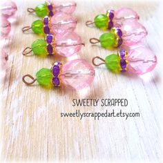 10 PINK and GREEN Beaded Charms ... Purple   #scrapbooking #beadedcharm #diy #jewelry #cardmaking #beaded #charm #pink
