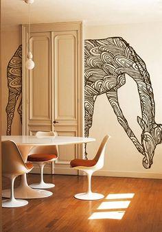Wild giraffe via Wall & Deco