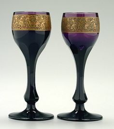 Pair amethyst Moser goblets,