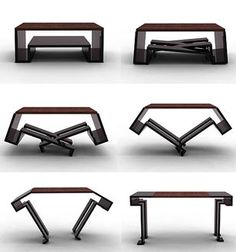 Functional table and design, table convertible to the desire t Folding Furniture, Smart Furniture, Space Saving Furniture, Metal Furniture, Furniture Plans, Furniture Design, Coffee Table To Dining Table, Coffee Table Design, Design Table