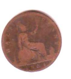 GB Queen Victoria Halfpenny Coin 1864 Fair condition