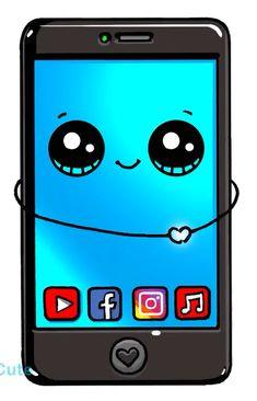 Cute phone drawing More at @ Kawaii Girl Drawings, Cute Food Drawings, Disney Drawings, Cartoon Drawings, Cartoon Illustrations, 365 Kawaii, Arte Do Kawaii, Kawaii Art, Doodles Kawaii
