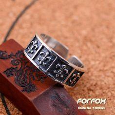 Mulheres redimensionável anel gravado flor de lis antigo 925 prata frete grátis(China (Mainland))