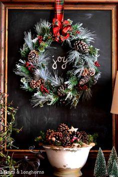 Chalkboard art quote DIY #crafts ToniK Joyeux Noël #Christmas wreath Joy