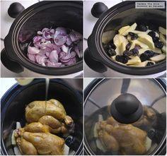 Paso a paso picantones al curry con manzana, ciruelas y miel Crock Pot Slow Cooker, Slow Cooker Recipes, Crockpot Recipes, Recetas Crock Pot, Multicooker, Sous Vide, Sausage, Curry, Food And Drink