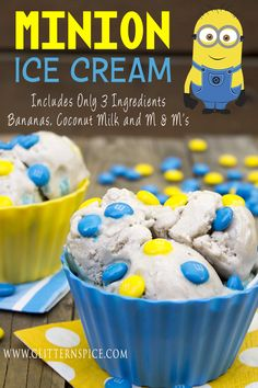 Minion Ice Cream, no dairy, but lots of flavor! Blogger Glitternspice shares this delicious treat!