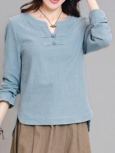 Shop T-Shirts - Blue Cotton-blend Crew Neck H-line Vintage T-Shirt online. Discover unique designers fashion at StyleWe.com.