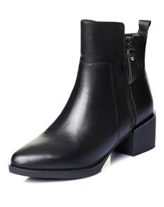 #AdoreWe NAIYEE Black Pointed-Toe Calf Leather Puppy Heel Ankle Boots - AdoreWe.com