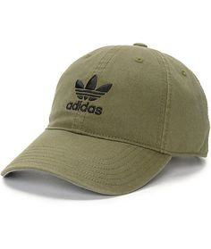For a casual look any day, the Olive dad hat from adidas pairs well with anything in your closet for a unique style. This army green hat features embroidered trefoil logos on the front and back while the strapback sizing piece for a custom fit. Snapback Hats, Beanie Hats, Bone Da Adidas, Adidas Cap, Mode Costume, Green Hats, Cute Hats, Hat Hairstyles, Outfits With Hats