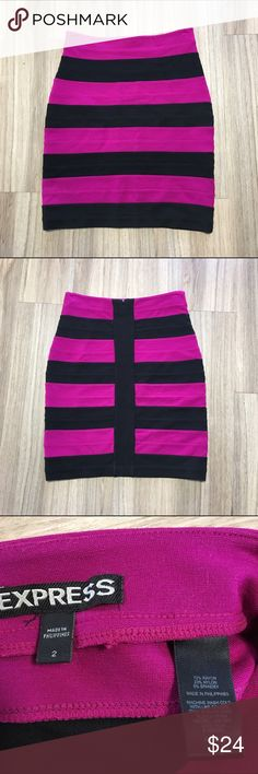 Express Magenta & Black Striped Bandage Mini Skirt Tight fitting bandage skirt. Pink and black striped. Zipper closure in the black. Great condition! Express Skirts Mini
