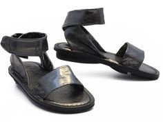 Steel-colored leather sandals from Trippen! xo, Ped Shoes.
