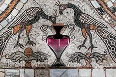 Archetipo Perfume Phial by Davide G. Aquini, made by Matteo Tagliapietra in Murano. Inspired by the mosaics of Basilica di Murano, Venice. Faded amethyst glass.