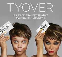 Tyra Banks before and after looks with Tyra Beauty.   www.tyra.com/aquillacarlson.