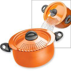Pasta Pot with Strainer Lid - 5-Quart - Orange - Kitchen Accessories - MaxiAids