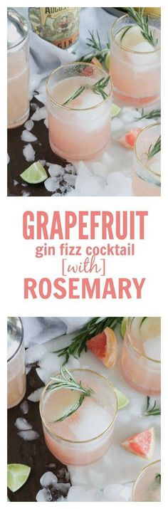 Grapefruit Gin Fizz Cocktail with Rosemary Simple Syrup (option for mocktail recipe too w/ La Croix) #cocktail #lacroix #grapefruit #gin Refreshing Cocktails, Fun Cocktails, Yummy Drinks, Cocktail Recipes, Yummy Food, Drink Recipes, Cocktail Ideas, Party Recipes, Party Drinks