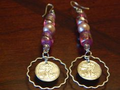 Walking Liberty Silver Earrings WITH Pink glass beads by gr8byz, $20.00