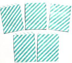 12 Teal Diagonal Stripe Favor Treat Loot Goody by ScrapsToRemember, $3.00