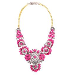 NEON PINK FAUX GEM STATEMENT NECKLACE Reference:  A02161005