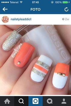 White grey orange nails #naildesign #nailart