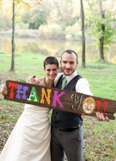 Thank You Wedding Photo Prop Sign from Farmhouse Wedding on Etsy