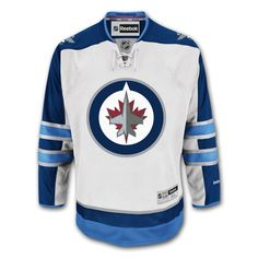 Show-off your favorite team with this Winnipeg Jets White Road Premier Jersey by Reebok. This jersey comes with the Jets crest on the front of the jersey and th Custom Hockey Jerseys, Nhl Hockey Jerseys, Pro Hockey, Jet Kids, Clothing Consignment Shops, Detroit Game, Altering Clothes, New York Jets, Sport Outfits