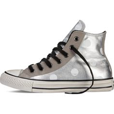 6b0bda1620c7 Converse Chuck Taylor All Star Polka Dots – silver white pois Sneakers  ( 40) ❤ liked on Polyvore featuring shoes