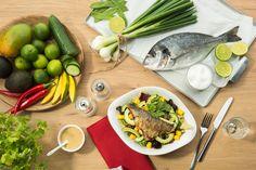 ORATA   Doradenfilet, Avocado, Mango, Blattsalate, Kaiserschoten, Gurken und Koriander. Wir empfehlen dazu unser süß-scharfes Limetten-Chili-Dressing.