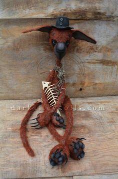 Dark Alley Cat Bones. Red Mohair Artist Cat by Veronika Lozovaya/ Dark Alley Dolls