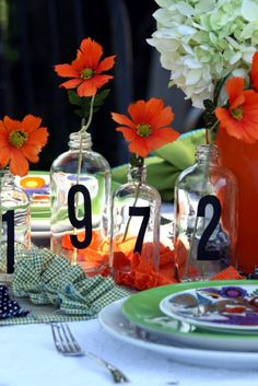 Vinyl numbers on bottles.  Sweet Something Designs: Colorful Tablescape