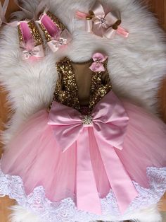 Princess dress pink & gold dress