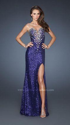 { 18456 | La Femme Fashion 2013 } La Femme Prom Dresses - Sequined Gown - Side Slit - Jeweled Bodice - Illusion Sweetheart V